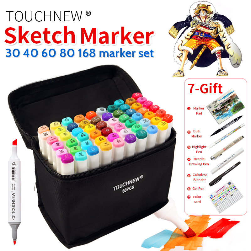 TOUCHNEW 30/40/60/80 Colors Art Marker Set Alcohol Based Sketch Marker Pen For Drawing Manga Design Art Set Supplies touchnew 30 40 60 80 168 colors artist dual headed marker set manga design school drawing sketch markers pen art supplies