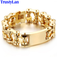 TrustyLan 22MM Wide Heavy Gold Plated Stainless Steel Bike Bracelet Men Bicycle Motorcycle Chain Link Mens