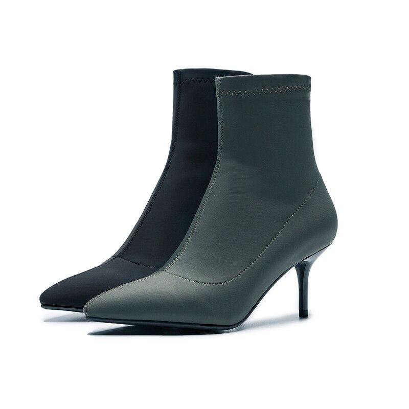 Zapatos Mujer Aguja De Estrecha Negro Militar Tacones La Femeninos 2018 verde Calzado Nuevo Otoño Botines Fiesta Punta Tramo Wetkiss Moda Botas Satén nA0Tpp