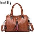 KMFFLY Berühmte Marke frauen Handtaschen Leder Messenger Taschen Quaste Top-Griff Taschen Frauen Tote Umhängetaschen Bolsas Feminina