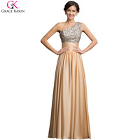 Stock Grace Karin A Line One Shoulder Evening Dress Gown 2015 Sequined Gold Prom Dresses For