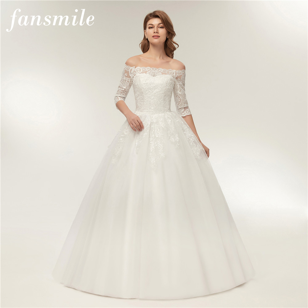 Plus Size Wedding Dresses 2019: Fansmile Real Photo Simple Ball Lace Wedding Dress Half