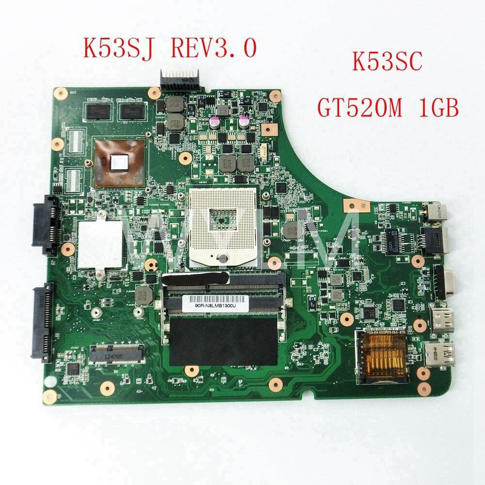 K53SJ K53SC GT520M 1g placa base REV3.0 para ASUS X53S A53S K53S K53SJ K53SC K53SV HM65 DDR3 placa base de computadora portátil a prueba trabajo