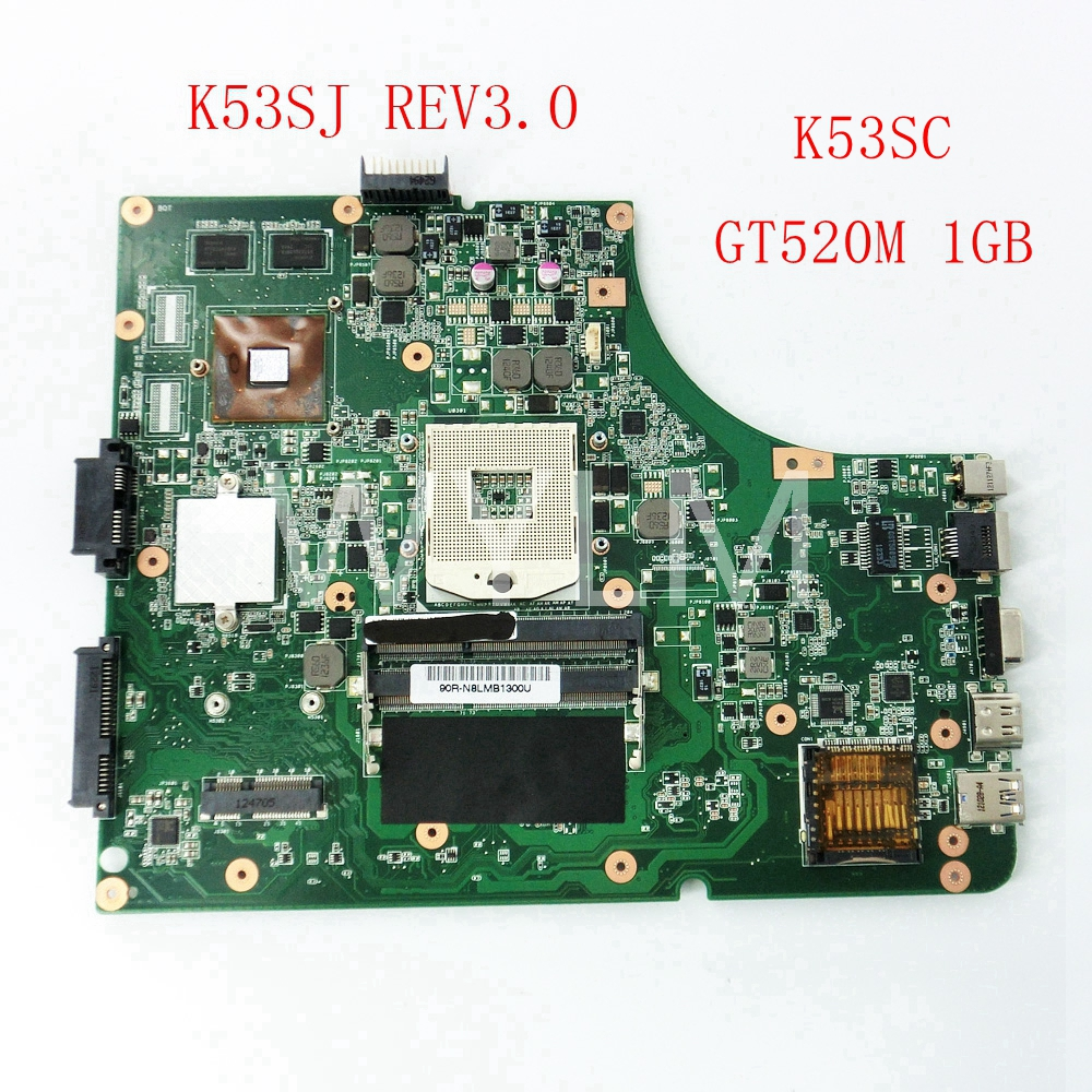 free shipping K53SJ K53SC GT520M 1G mainboard REV3.0 For ASUS X53S A53S K53S K53SJ K53SC K53SV Laptop motherboard Tested Working free shipping 1015bx mainboard rev2 1g for asus eee pc 1015bx laptop motherboard 100% tested working fully tested
