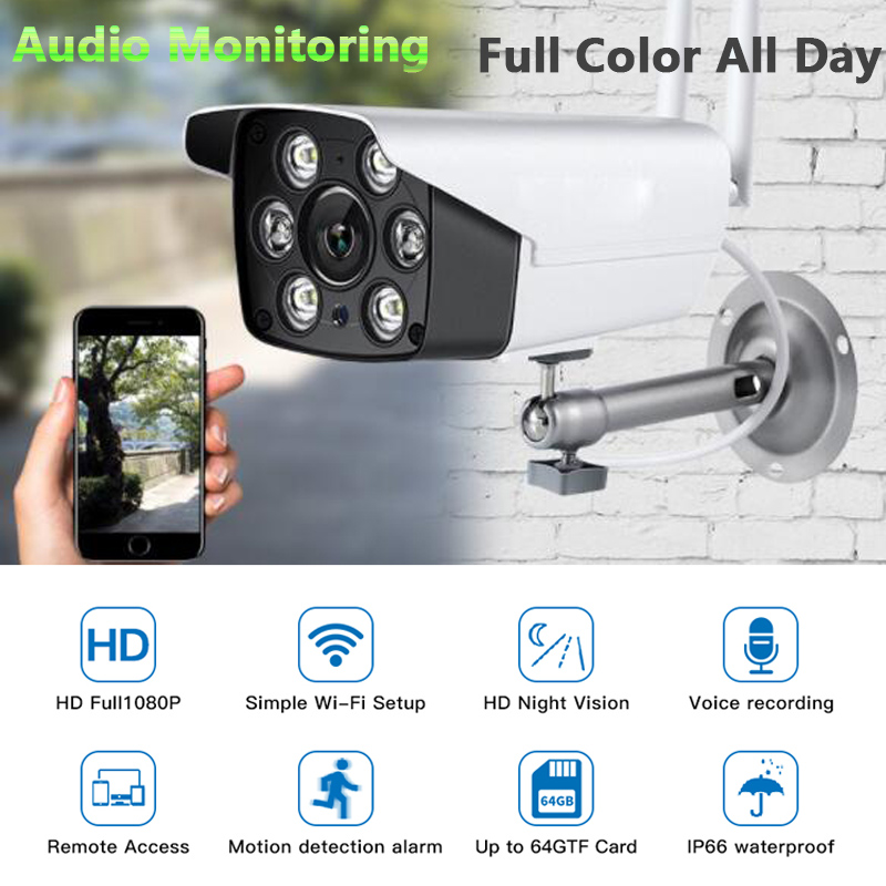 HD 1080P IP Wifi Audio Motion Surveillance Cameras With Night Vision Full Color Wireless Baby Monitor Security For Home Outdoor