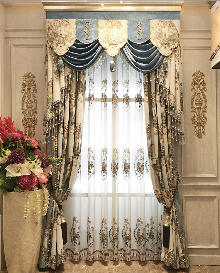 living room drapes and valances embroidered luxury curtain jacquard blinds curtains for 20425