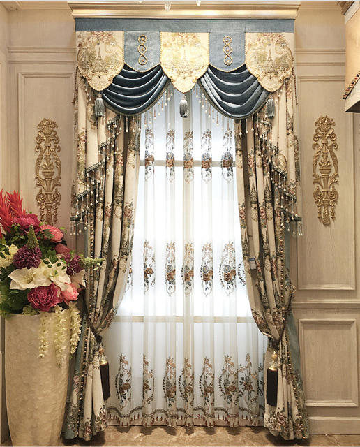 Aliexpress  Buy Embroidered Luxury Curtain Jacquard Blinds - luxury curtains for living room