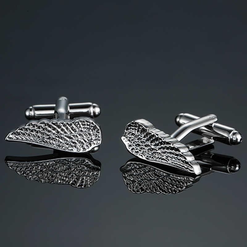 DY Il nuovo di alta qualità in ottone placcatura Argenteo angelo ali di moda Dei Gemelli degli uomini Gemelli della camicia Francese
