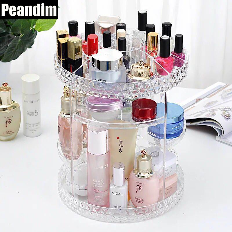PEANDIM Clear Diomond 360 Degree Rotating Cosmetic ...