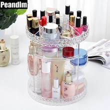PEANDIM Clear Diomond 360 Degree Rotating Cosmetic Organizer DIY Assemle Acrylic MakeUp Organizer Brush Holder Clean