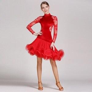 Image 3 - Rosso del merletto di ballo latino del vestito frangia delle donne vestito latino vestiti di ballo Dancewear latina salsa abiti per il ballo samba tango