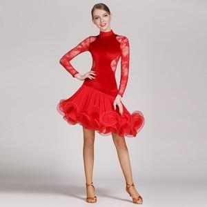 Image 3 - red lace latin dance dress fringe women latin dress dancing clothes Dancewear latina salsa dresses for dancing samba tango