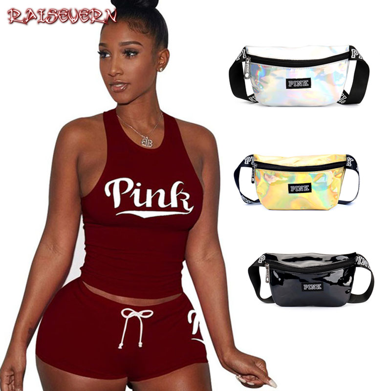 RAISEVERN PINK Letters Print Tank Top Shorts Suit Two Piece Set Sexy Sleeveless Women Outfits Summer Sporting 2 Piece Set