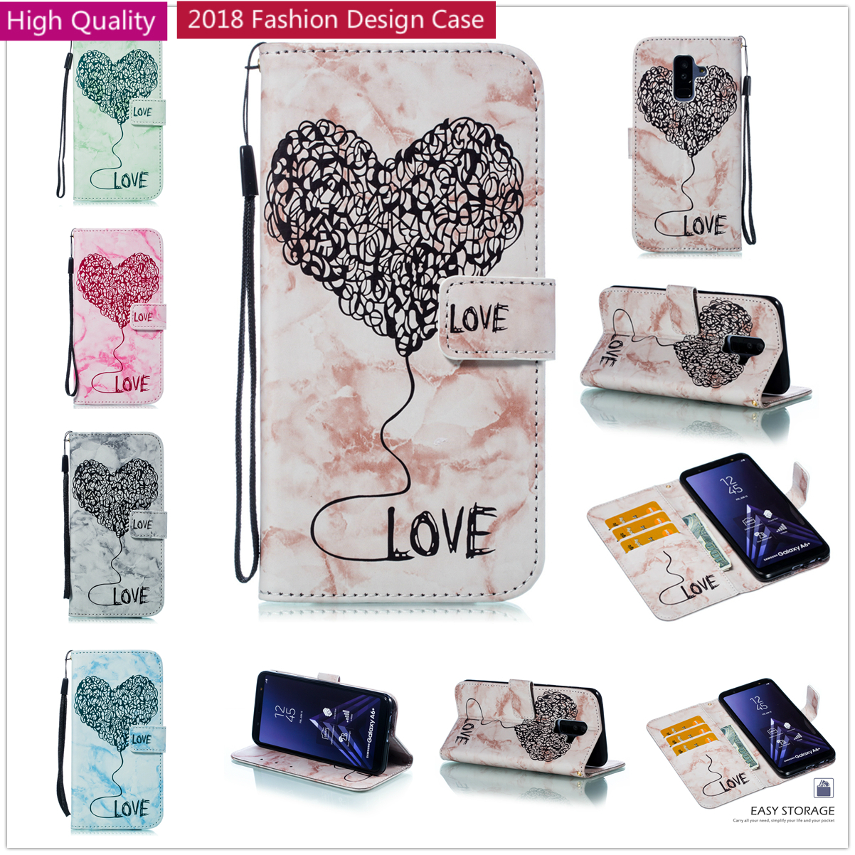 High Quality Leather Cover For Samsung A6 A8 Plus 2018 Phone Case Love Heart Flip Book Fundas For Samsun A5 A3 2017 2016 Coque
