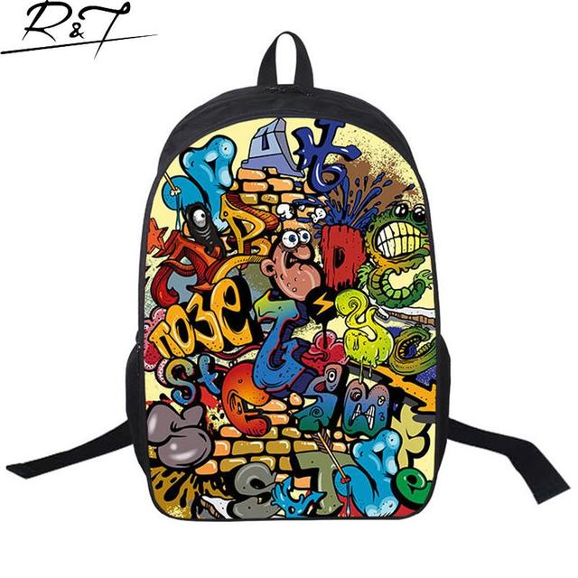New Arrivals Graffiti Printing School Bags for Teenagers Women Men Casual Colorful Travel Backpacks Student Daily Bag