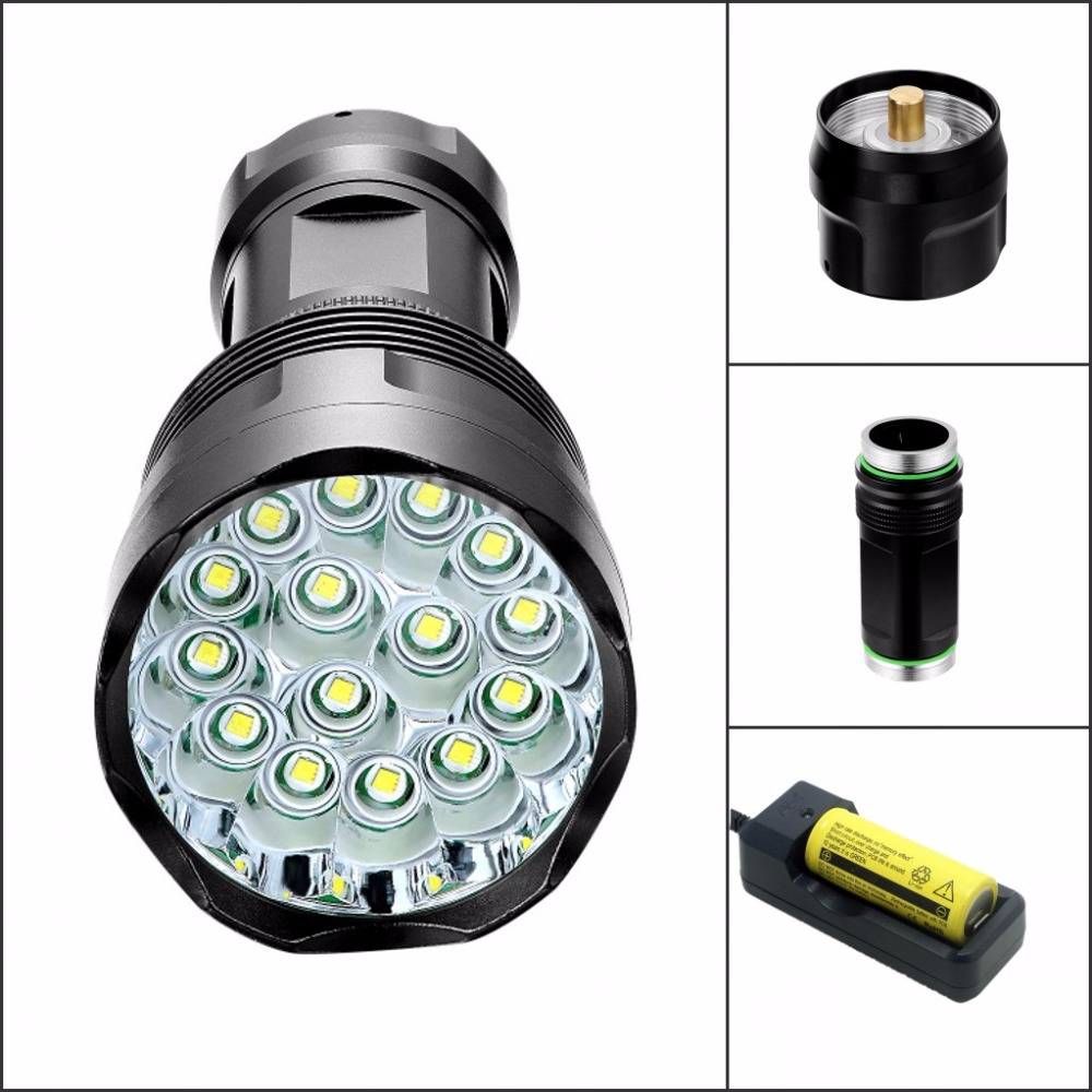 Tinhofire T15 28000 lumens High Power 15T6 LED 15 x CREE XM L T6 LED Flashlight Torch Lamp Light Lantern 18650/26650 Battery