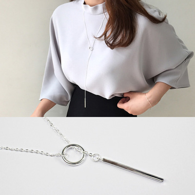 2017 minimalisme cercle & rectangle pendentif collier femmes collares, 925 en argent sterling colliers long kolye bijoux collier