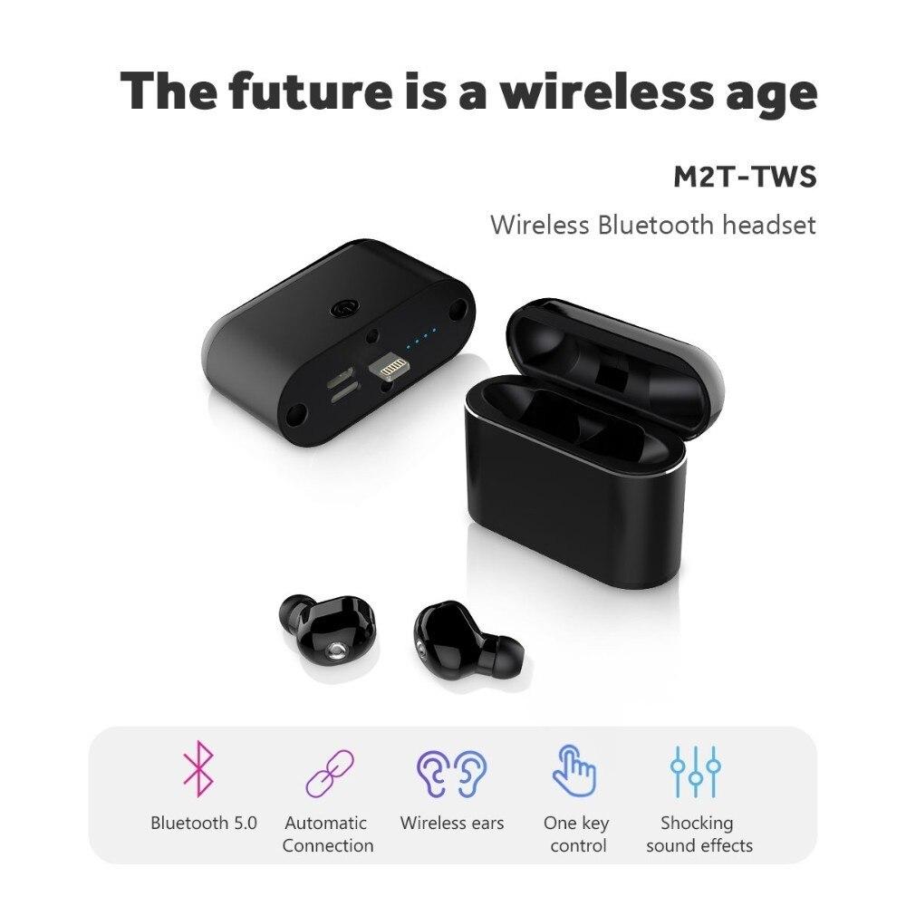 M2T TWS Mini écouteur sans fil Bluetooth connexion automatique casque boîtier de charge séparé 1600 mAh pour interface iphone Micro type-c
