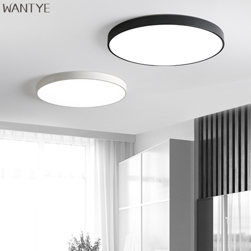 Modern Ultra-thin Round LED Ceiling Light Lamps Dimmable for Living room Kids room Kitchen Lighting Fixtures Black Flush Mount digital film coating thickness gauge mini ultrasonic automotive lcd car coat painting thickness tester width measure meter gm200