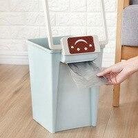 Square Band Open Trash Can Household Bedroom Living Room European Garbage Basket Bathroom Plastic Trash Can|Waste Bins| |  -