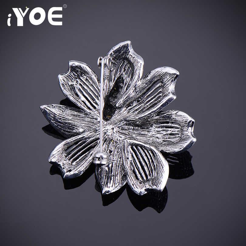Iyoe antigo prata cor liga broche moda jóias preto strass flor vintage broches para casamento cachecol fivela jóias