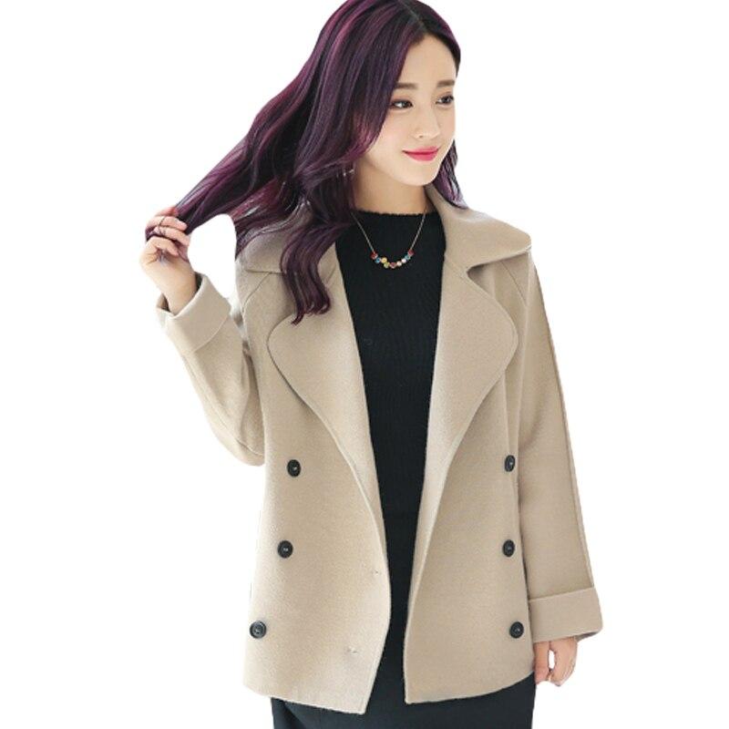 Revers Dames Taille Outwear Coréenne Laine Nouvelle Mélangée Kaki Manteau Veste Décontracté Femmes Grande Courte Version Solide Mince En Vrac Chaud Xh399 Bqq6S