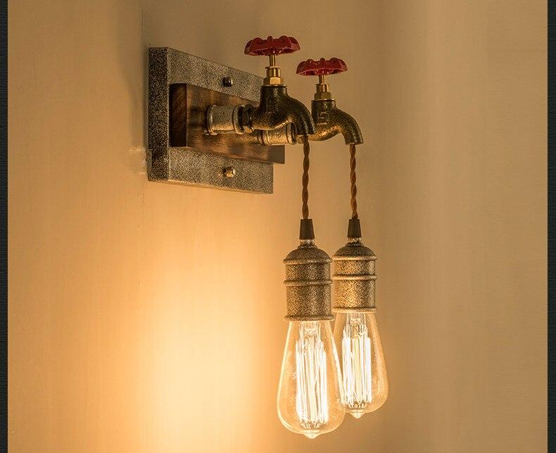 Industriale loft vintage lampada da parete in legno appliques