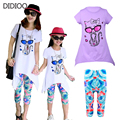 Летом стиле baby дети комплект одежды для девочек моды случайные костюм с коротким рукавом мультфильм cat dress & леггинсы детская одежда набор