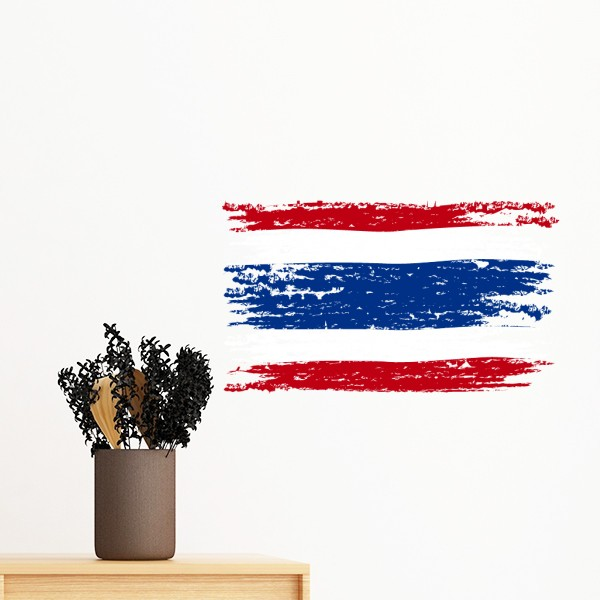Kingdom of thailand thai customs watercolor drawing thailand flag wall sticker art decals mural diy wallpaper