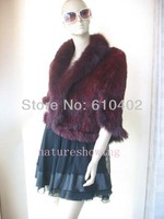 Free Shipping Christmas Gift 2013 Real Mink Fur Knitted Stole With Sleeves Wrap Cape Wine Red