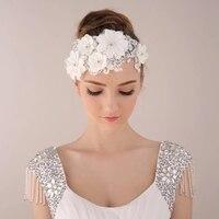 Free Shipping Pearl Crystal Handmade Lace Hair Accessory Hair Accessory Wedding Q0930