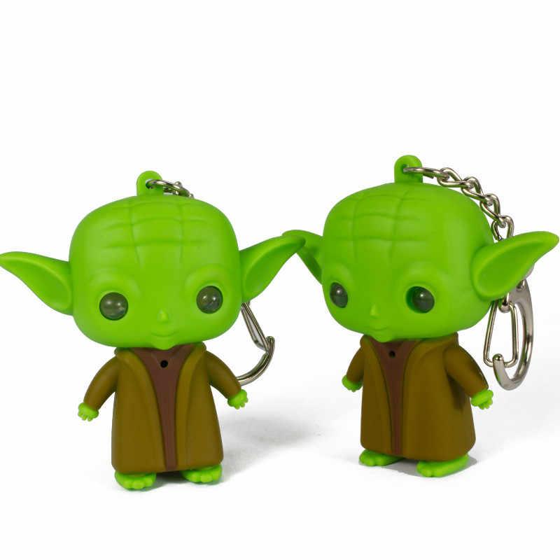 Moda led som chaveiro star wars chaveiros jedi mestre yoda keyring led chaveiros brinquedos bonitos