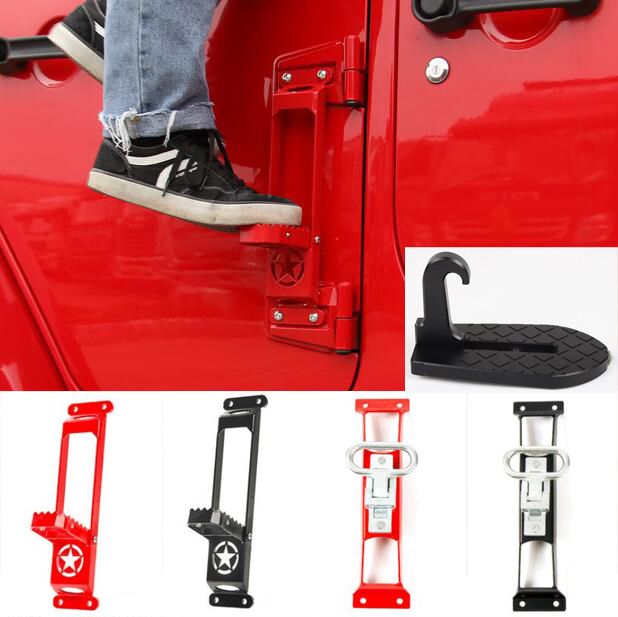 Door Side Step Running Board Plate Foot Rest Pedal Ladder Kit Exterior Accessories Metal For Jeep Wrangler Jk 07 Up Free Ship