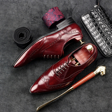 Mens Oxfords Shoes British Style Bullock Carved Genuine Leather Shoe Wine Brogue Shoes Breathable pointed toe Formal dress shoes