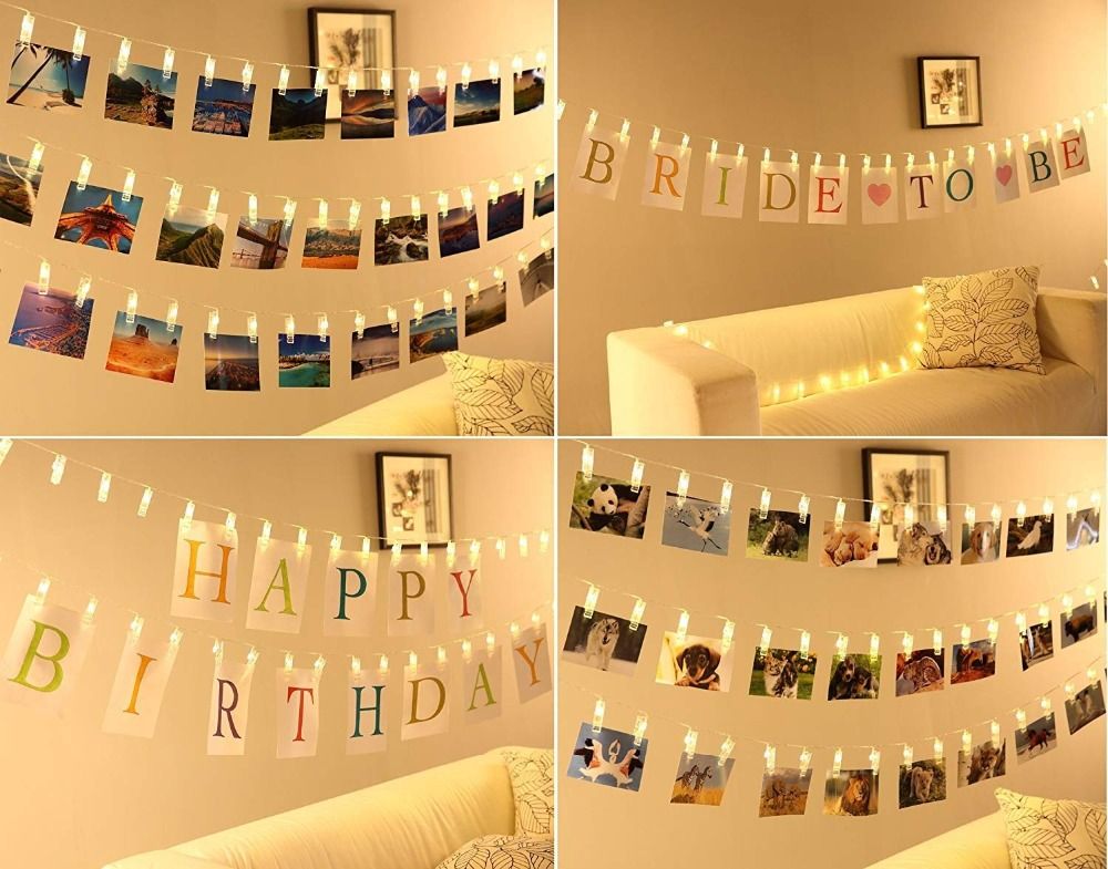Photo Clip Holder LED String lights For Christmas New Year Party Wedding Home Decoration Fairy lights Battery (20)