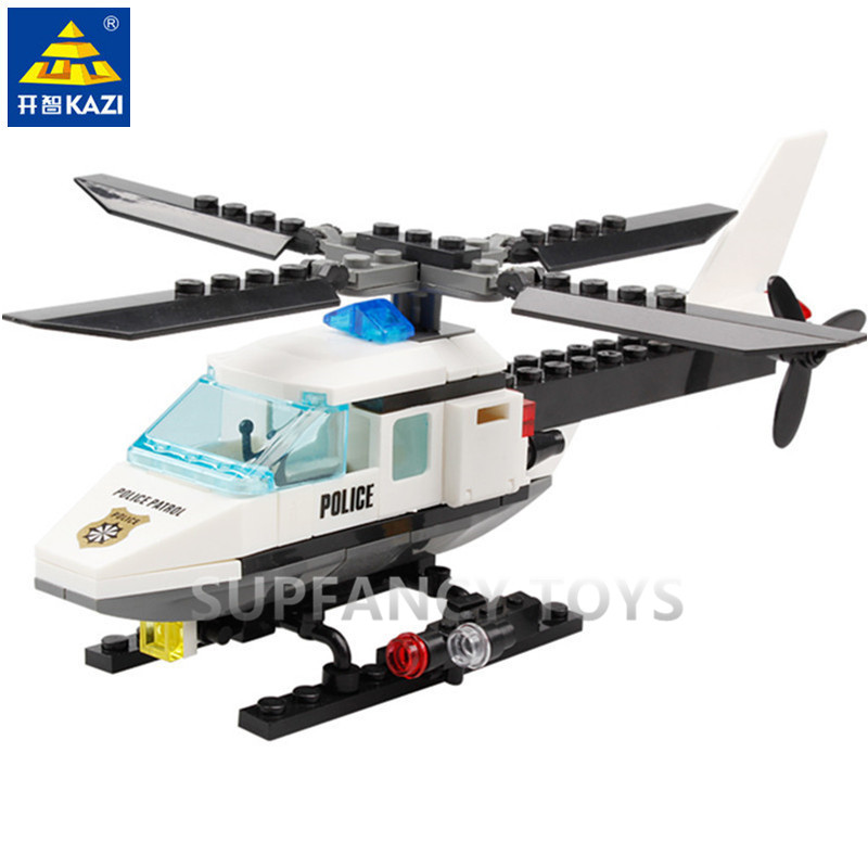 102Pcs City Police Helicopter Model Building Blocks Sets Airplane DIY Bricks Educational Toys For Children in Blocks from Toys Hobbies