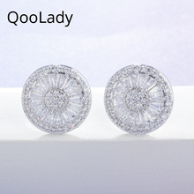 QooLady Lovely Exquisite Micro Pave White Cubic Zirconia Stone Korean Silver Round Stud Earrings Fashion Jewelry for Women E008