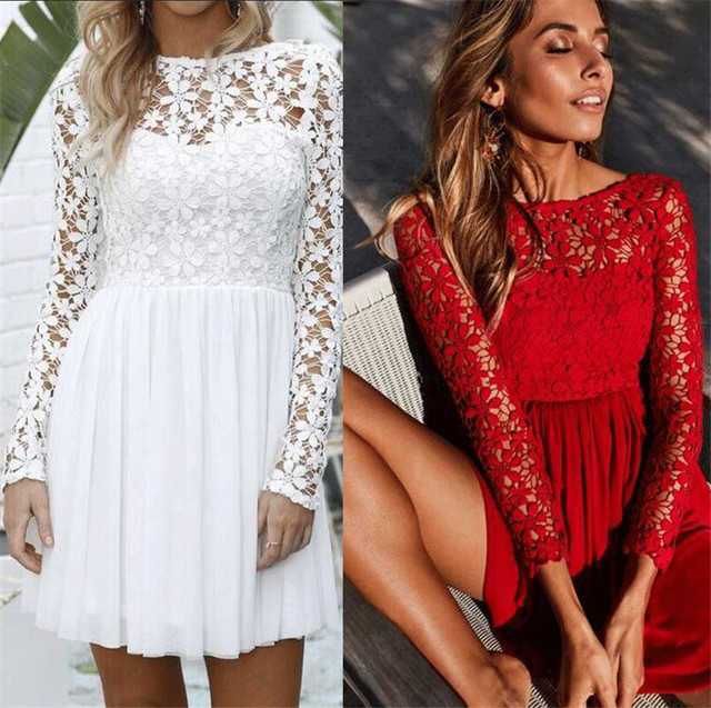 794c0d9586 Women Floral Lace Long Sleeve Dress Round Neck Solid Red White Party Evening  Short Mini Dress Summer Autumn Formal Dresses