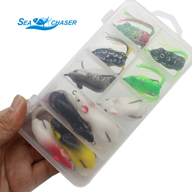 2017 NUEVO 10pcs 10 colores Topwater Frog and Mouse Hollow Body Soft - Pescando - foto 6