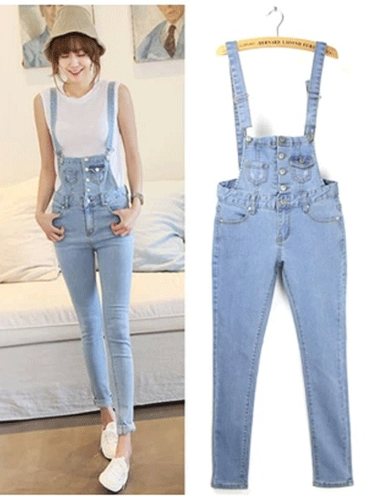 2017 spring summer European fashion women jumpsuit denim female blue casual jeans jumpsuits for lady wear 9772 Freeshipping