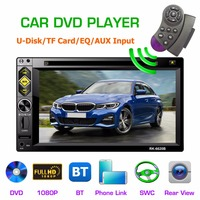 6620B 2 Din Car DVD Player 6.2'' Touch ScreenFM Radio Player Bluetooth MP5 Player with Remote Controller Radio Stereo Head Unit