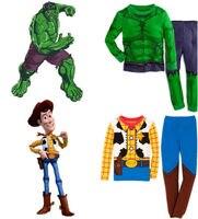 2016 New Brand The Hulk Toy Story Sheriff Woody Baby Kids Boys Nightwear Sleepwear Pyjamas Suits