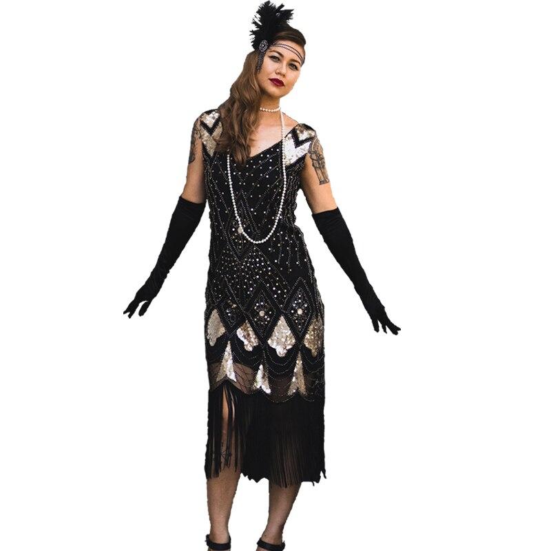 Hot Sale Vintage Women Plus Size Great Gatsby Dress Sleeveless V