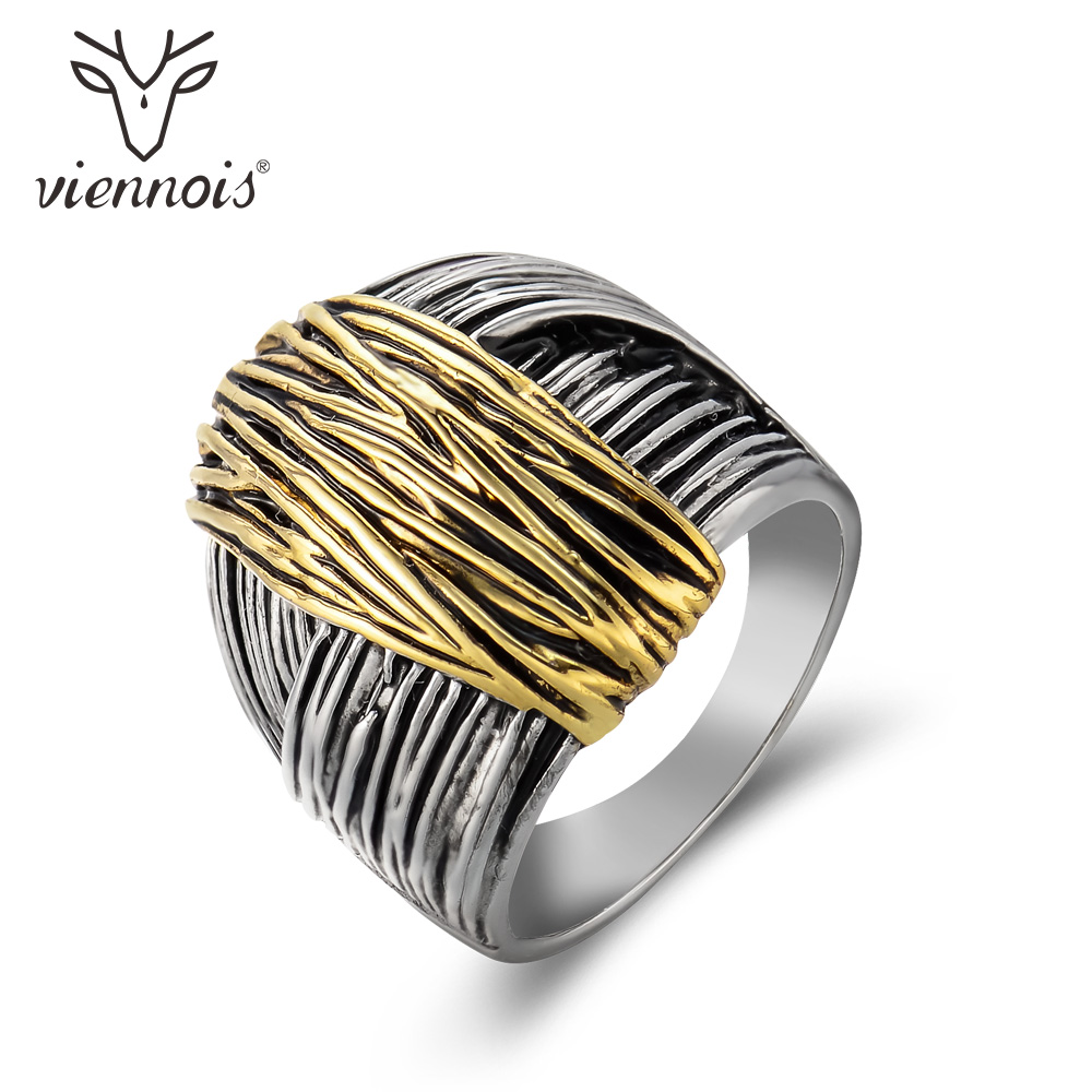 Viennois Gun Color Geometric Finger Rings for Woman Gold Geometric Cocktail Ring Party Fashion Jewelry faux gem geometric engraved insect ring