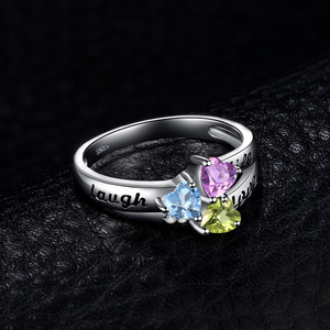 Image 3 - JewelryPalace życie miłość śmiech serce oryginalna Peridot ametyst pierścień Topaz 925 srebro pierścionki dla kobiet pierścień przyrzeczenia biżuteria