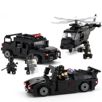 DIY Police series Helicopter/Humvee/Pursuit vehicle Educational toys Miniature Model Assembly blocks Compatibled with Legoings