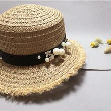 f85eedb7bc6 lovely Flat top straw hat Summer Spring women s trip caps leisure pearl beach  sun hats black