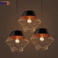 Винтаж подвесные светильники Лофт подвесной светильник в стиле ретро железной клетке подвесной светильник абажур для ресторана бара для м