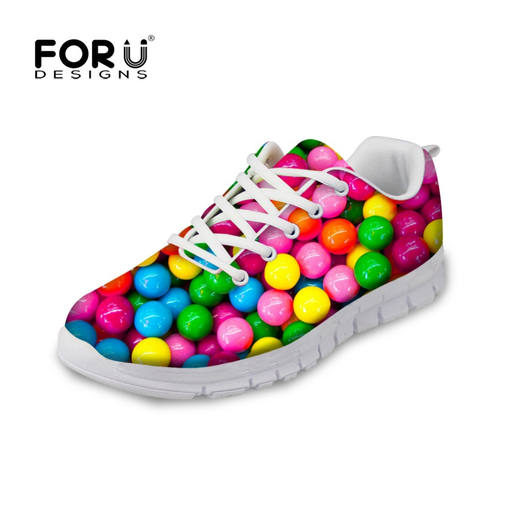 ФОТО FORUDESIGNS 2017 Fashion Women's Flats Cute Mixed Candy Color Printed Spring Casual Lace-up Light Shoes Female Lady Leisure Shoe