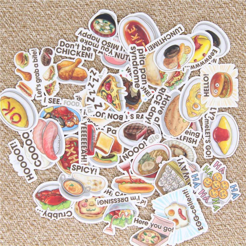 40 unids/lote comida inglesa pegatina de papel decorativa casera para teléfono coche portátil álbum diario mochila niños juguetes pegatinas